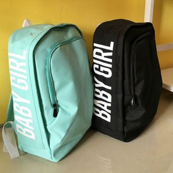 """Gotopfashion The original SuFeng contracted leisure men and women pure color printing letters college student backpack backpack backpack wind wave"""""""