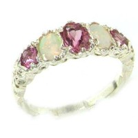 High Quality Solid 14K White Gold Natural Pink Tourmaline & Opal English Victorian Ring - Size 9 - Finger Sizes 5 to 12 Available - Perfect Gift for Birthday, Christmas, Valentines Day, Mothers Day, Mom, Grandmother, Daughter, Graduation, Bridesmaid.