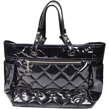 Chanel Tote Large Shopper Black Patent Leather