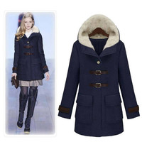 Hooded Lamb Wool Thick Long Sleeves Mid-length Coat