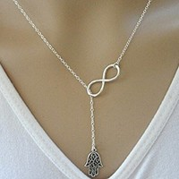 Beancase(TM) Fashion Silver Hand and Infinity Pendant Necklace(1 Pc)