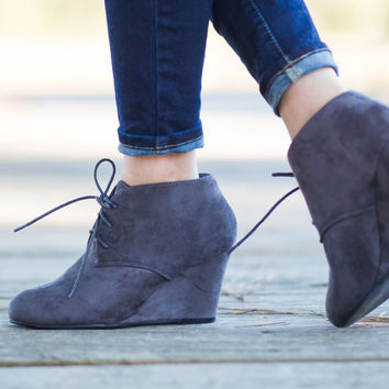 GREY WEDGE  BOOTIES