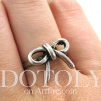 Bow Tie Ring in Silver - Sizes Sizes 5 and 6 Available