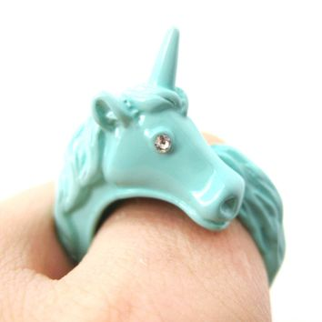Large Detailed Unicorn Animal Wrap Around Ring In Mint Blue   Size 5 To 8