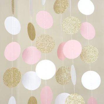 New Pink White & Gold Glitter Circle Polka Dots Paper Garland Banner 10FT Banner