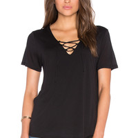 Lanston Lace Up Tee in Black