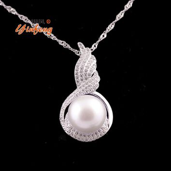 925 Sterling Silver Pearl Pendant Necklace Jewelry Angel wings Pendant
