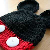 Mouse Hat, crochet photo prop, baby boy photo prop, red and black, white buttons, Newborn to 12 Months