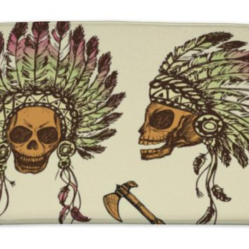 Bath Mat, Human Skull In Native American Indian Chief Headdress With Tomah