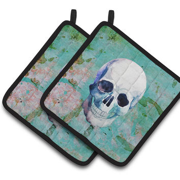 Day of the Dead Teal Skull Pair of Pot Holders BB5123PTHD