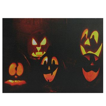 "LED Lighted Silly and Spooky Jack-O-Lanterns Halloween Canvas Wall Art 15.75"" x 12"""