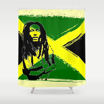 Feeling Rasta - Green - Rastafarian stencil artwork, jamaica flag, reggae music, positive vibration Shower Curtain by hmdesignspl