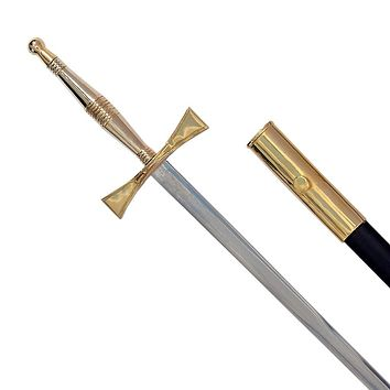 Masonic Sword with Gold Hilt and Black Scabbard 35 3/4""