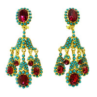 Kenneth J. Lane Faux Turquoise & Red Crystal Clip Earrings