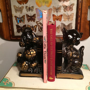 vintage ceramic poodle and cat bookends, made in Japan, pencil holder, home decor, dog