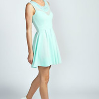 Annabelle Embellished Neck Sweetheart Skater Dress