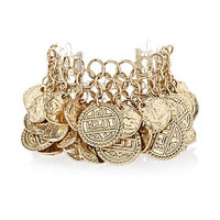 Gold tone layered coin statement bracelet - bracelets - jewelry - women