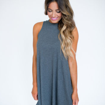 Ribbed Shift Tank Dress- Grey