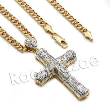 Lab diamond Micro Pave Multi Jesus Cross Pendant w/ Miami Cuban Chain BR075