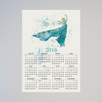 Frozen Princess Elsa Calendar Personalized 2016 Disney Watercolor Picture Print Save the date gift Christmas New Year Birthday present