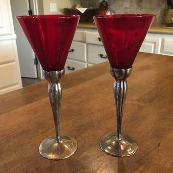 Set of 2 - Vintage International Silver Company Silver Plated Red Glass Goblets