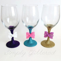 Glitter Stemmed Wine Glass with Bow