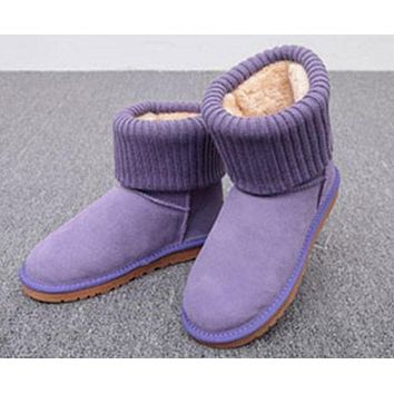 Kalete UGG Boots Women Boots Winter Warm Fashion Thread curl boots Purple