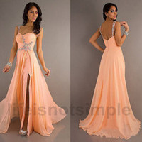 2014 Custom-made Bridesmaid dresses / evening dress / long bridesmaid dresses / long prom dress custom size custom color