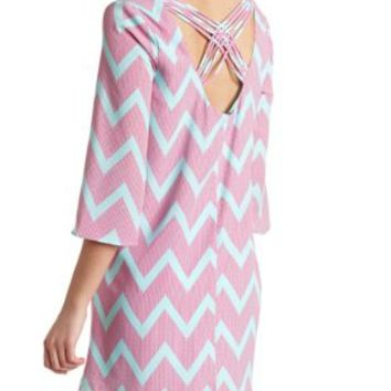 Strappy Back Chevron Shift Dress by Charlotte Russe - Pink Combo