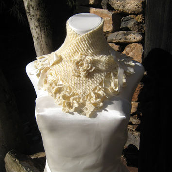 Knitted Scarf collar neck corset handknitted handmade flower lace crochet cream color satin ribbon vicotrian steampunk romantic style