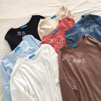 Women Long Sleeve T shirt Harajuku Kawaii Tops Tee Female Fashion Ulzzang T-shirt Preppy Style Tshirt HT6933