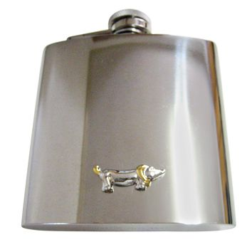 Two Toned Wiener Dog 6 Oz. Stainless Steel Flask
