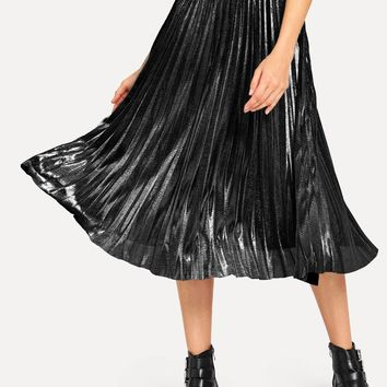 Letter Print Pleated Metallic Skirt
