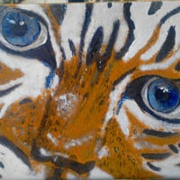 Tiger Art Original Acrylic Painting wildlife - tigers eyes - Framed Cat Painting Home Decor as Wall Hanging