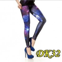 Blooms Galaxy Calico Painting Footless Pantyhose Leggings Good Quality One Size:Amazon:Clothing