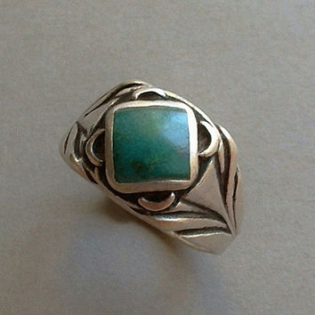 OLD PAWN Vintage Native American Men's NAVAJO Ring Sterling Silver Chrysocolla Gemstone Size 11 c.1930s