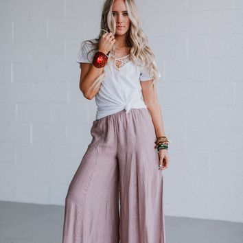 Poppy High Slit Palazzo Pants - Mauve