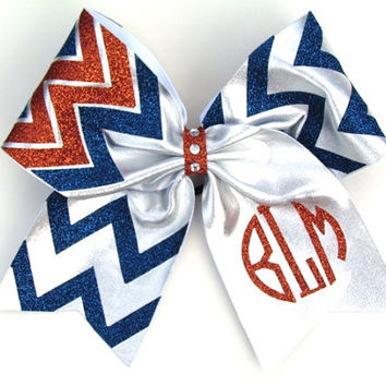 3 Colored Personalized Monogrammed Circle Chevron Cheer Bow