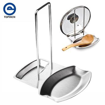 Stainless Steel Pan Pot Cover Lid Rack Stand Spoon Holder Stove Organizer Storage Soup Spoon kitchen accessories Hot