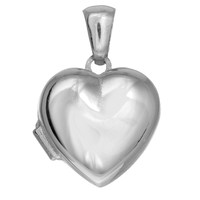 Sterling Silver With Rhodium Finish Shiny Heart Locket -15 mm