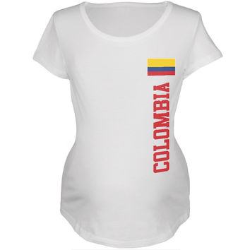 World Cup Colombia White Womens Soft Maternity T-Shirt