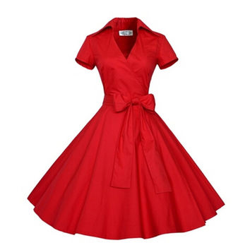 Summer Audrey' Hepburn Style 1950s 60s Vintage Retro Sleeve Rockabilly Pinup 50s Swing Wedding Party Plus Size Dresses