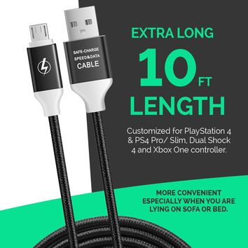 2 Pack 10ft / 3M PS4 Controller Charging Cable for PlayStation 4 PS4 Dualshock 4 PS4 Slim/Pro and Xbox One X Controller
