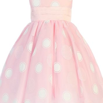 Pink Satin w Glitter Polka Dots on Tulle Overlay Easter Spring Dress (Baby 3 Months - Girls Size 10)