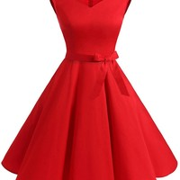 Red 1950s Sweetheart Swing Dress