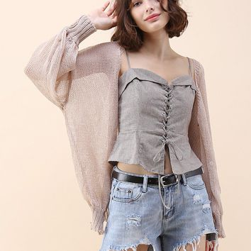 Something Dashing Knit Cardigan in Taupe
