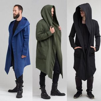 Men's Hooded Jacket Long Cardigan Ninja Goth Gothic Hoodie Sweatshirt Punk 2018