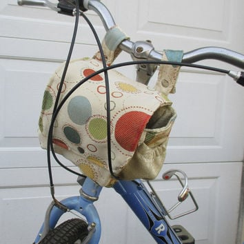 Bike Bag For Women , Bicycle Bag That Converts To A Purse , Polka Dot Handlebar Bike Bag ,  Bike Basket