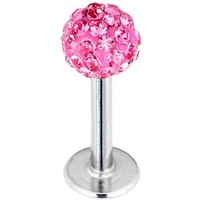 Pink Ferido Ball Labret Monroe Tragus Created with Swarovski Crystals 16 Gauge