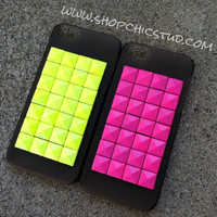 Studded iPhone 5 Case Transparent Smoke Grey Hard Case - Neon Green or Hot Pink Studs